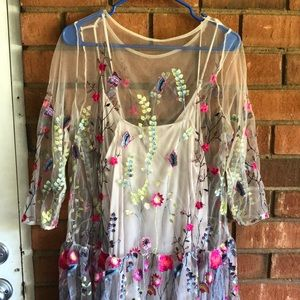 FREE PEOPLE Stunning Embroidered Mesh Maxi Dress